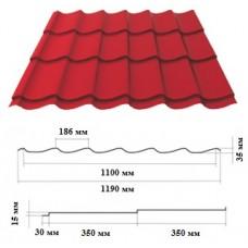 Металочерепиця LEMBERG 1190*35*0,4 мм, RAL 3011 глянець, м2