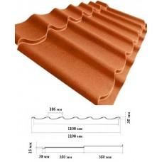 Металочерепиця LEMBERG 1190*35*0,53 мм, RAL 8004 матполіестр, м2