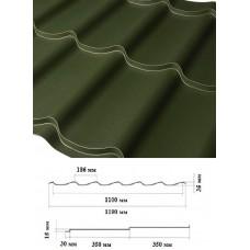 Металочерепиця LEMBERG 1190*35*0,45 мм, RAL 6020 матполіестр, м2